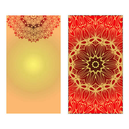 Design Vintage Cards With Floral Mandala Pattern And Ornaments. Vector illustration. Gold, red color. For Wedding, Bridal, Valentines Day, Greeting Card Invitation Ilustrace
