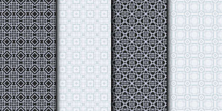 Set of Seamless Geometrical Linear Texture. Original Geometrical Puzzle. Backdrop. Grey color. Vector illustration. Illusztráció