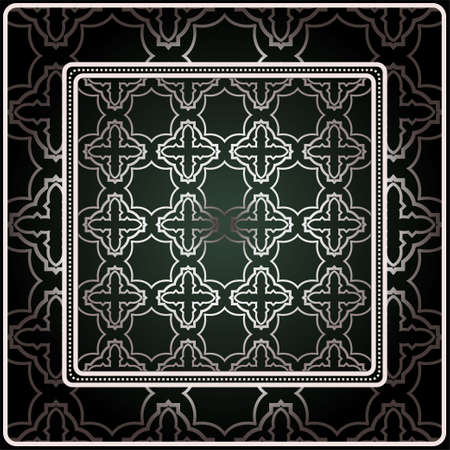 Background, Geometric Pattern With Ornate Lace Frame. Illustration. For Scarf Print, Fabric, Covers, Scrapbooking, Bandana, Pareo, Shawl. Silver. dark grey, green color color. Illusztráció