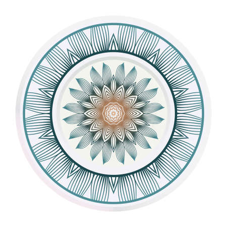 matching decorative plates. Decorative mandala ornament. Vector illustration. for interior design, circle medalion, colorful kitchen. Ilustrace