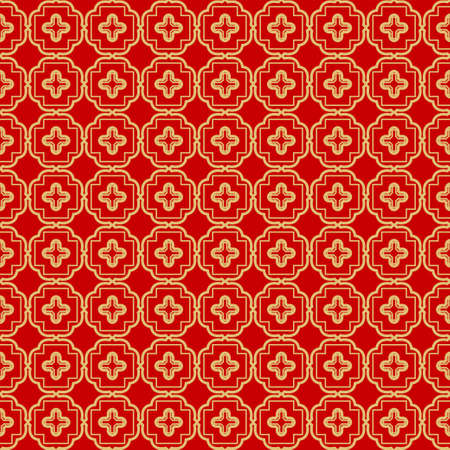 Repeating Geometric Pattern with Triangle, Zig Zag. Vector Background, Texture. For Design Invitation, Interior Wallpaper, Cover Card, Technologic Design. rED GOLD COLOR Ilustracja