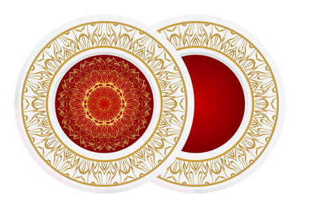 Concept Decorative plates with Mandala ornament patterns. Home decor background. Vector illustration