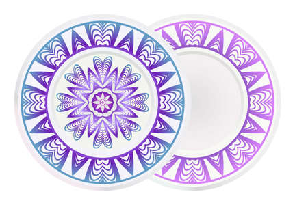 Set of two round ornament with decorative mandala. Vector illustration. Illusztráció