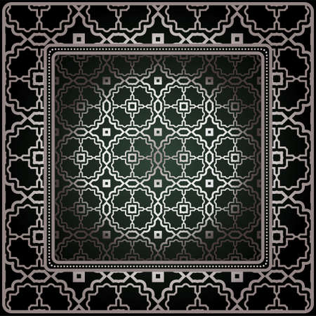 Background, Geometric Pattern With Ornate Lace Frame. Illustration. For Tablecloth, Scarf Print, Fabric, Covers, Scrapbooking, Bandana, Pareo, Shawl Vettoriali