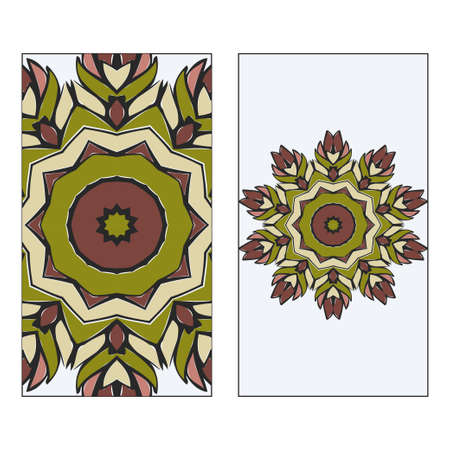 Vintage Card With Patterns Of The Mandala. Floral Ornaments. Islam, Arabic, Indian, Ottoman Motifs. Template For Flyer Or Invitation Card Design. Vector Illustration. Ilustração