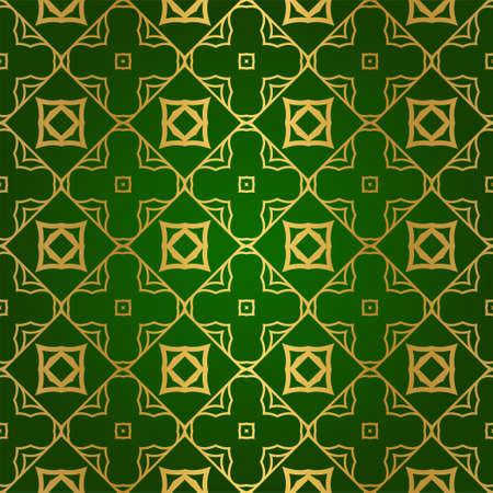 Luxury Seamless Geometrical Linear Texture. Original Geometrical Puzzle. Backdrop. Vector illustration. Green gold color. Design For Prints, Textile, Decor, Fabric Çizim
