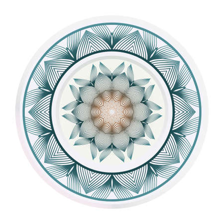 floral ornament plate for wall desight. vector illustration. 일러스트