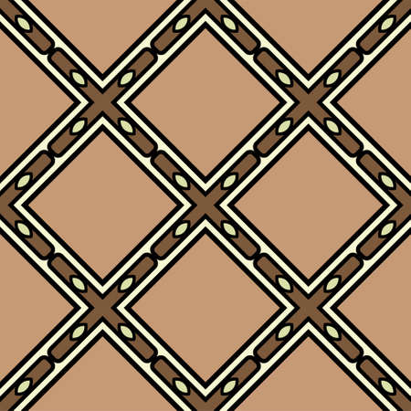 Abstract Vector Seamless Pattern With Abstract Geometric retro Style. Repeating Sample Figure And Line. For Modern Interiors Design, Wallpaper, Textile Industry. Brown, light olive color. Ilustração