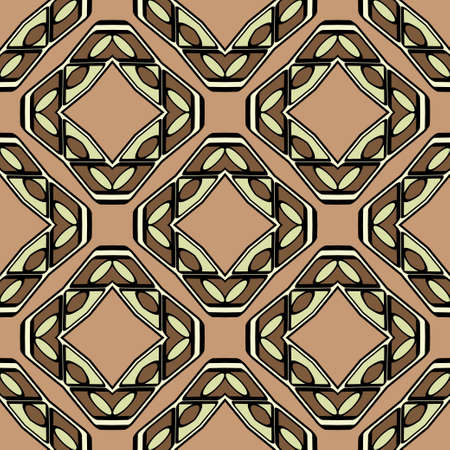 Abstract Vector Seamless Pattern With Abstract Geometric retro Style. Repeating Sample Figure And Line. For Modern Interiors Design, Wallpaper, Textile Industry. Brown, light olive color. Ilustracja