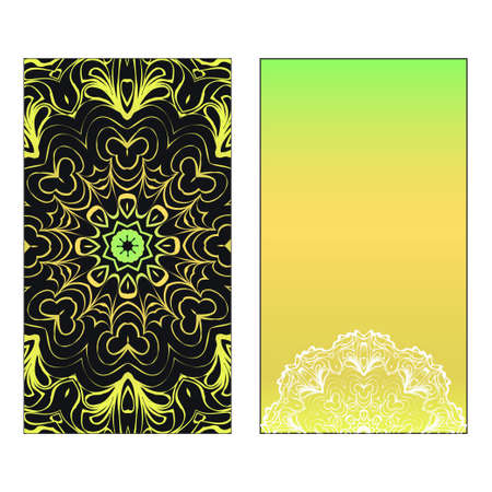 Vector template for inviatation card. Patterns with decorative round floral mandala. Reklamní fotografie - 133713378