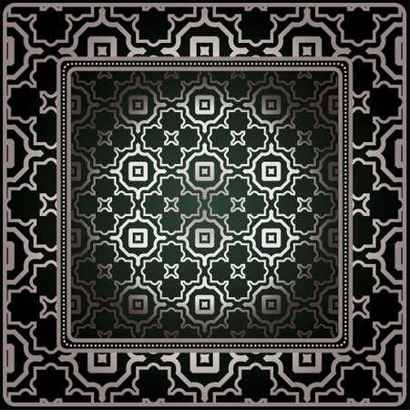Geometric Ornament With Frame, Border. Art-Deco Background. Bandanna, Shawl, Scarf, Tablecloth Design. Çizim