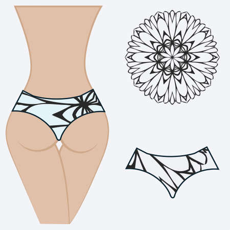 erotic women's panties. vector illustration. gift floral print