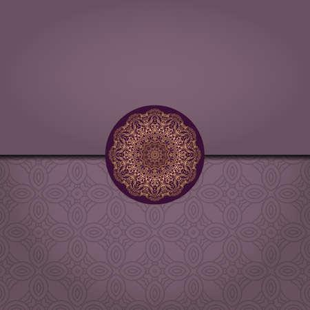Patrón de plantilla de Mandala de vector sobre fondo de color para tarjeta, cartel, folleto, invitación, etc.