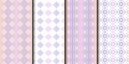 Set of 4 seamless geometric pattern. vector illustration.
