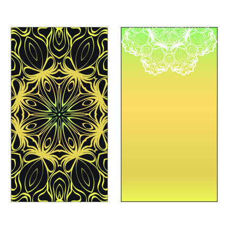 Vector template for inviatation card. Patterns with decorative round floral mandala. Reklamní fotografie - 133713711