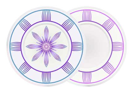 Ensemble de deux ornements ronds avec mandala décoratif. Illustration vectorielle.