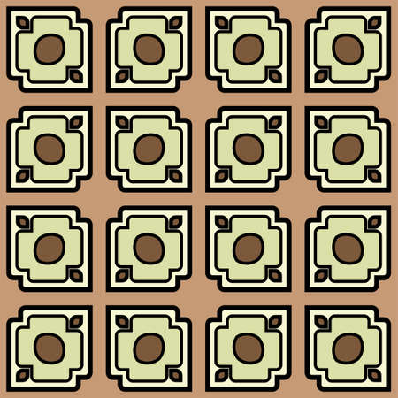 Abstract Vector Seamless Pattern With Abstract Geometric retro Style. Repeating Sample Figure And Line. For Modern Interiors Design, Wallpaper, Textile Industry. Brown, light olive color. Çizim