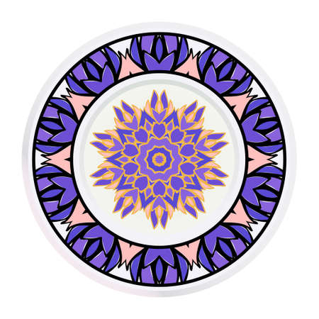 Creative round frame and floral mandala. Vector illustration. Illusztráció