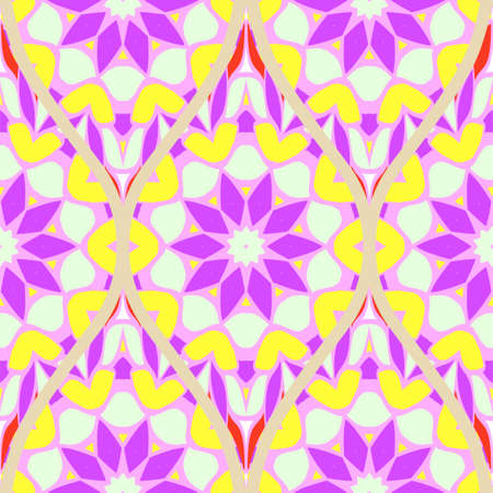 Seamless floral geometric pattern. Vector illustration. Bright color ornament.