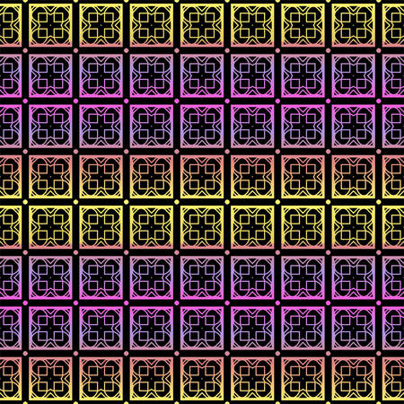 Color seamless geometric pattern with dark background. Vector illustration. Çizim