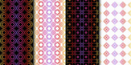 Set of Seamless Geometrical Linear Texture. Original Geometrical Puzzle. Backdrop. Vector illustration Illusztráció