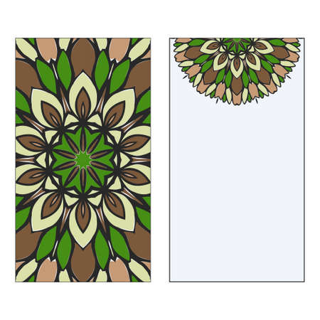 Ethnic Mandala Ornament. Templates invitation card With Mandalas. Floral decoration. Vector illustration Green, brown color. Card Design For Banners, Greeting Cards, Gifts Tags Ilustracja