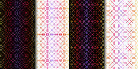 Set of Color Seamless Lace Pattern With Abstract Geometric Background. Vector illustration