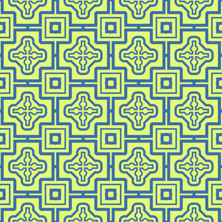 Seamless Pattern With Abstract Geometric Style. Repeating Sample Figure And Line. Vector illustration. Blue, light green color.