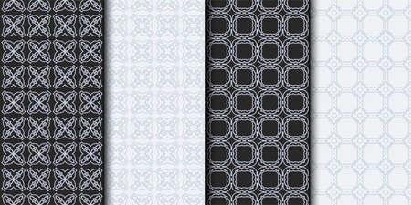 Set of Seamless Geometrical Linear Texture. Original Geometrical Puzzle. Backdrop. Grey color. Vector illustration. Illustration