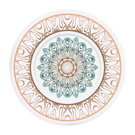 relaxing decorative symbol. vector illustration. floral magic circle.