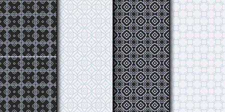 Set of Seamless Geometrical Linear Texture. Original Geometrical Puzzle. Backdrop. Grey color. Vector illustration. Çizim