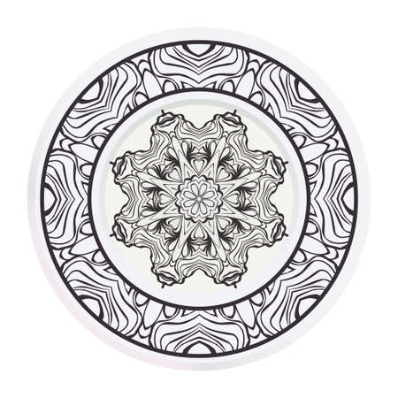 decorative plates for interior design. Empty dish, porcelain plate mock up design. Vector illustration. Decorative plates with Mandala ornament patterns. Home decor background. circle medalion, colorf 일러스트
