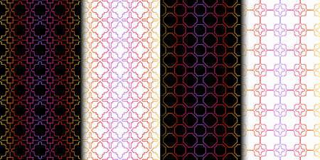 Set of Seamless Geometrical Linear Texture. Original Geometrical Puzzle. Backdrop. Vector illustration Çizim