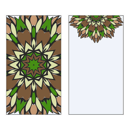 Ethnic Mandala Ornament. Templates invitation card With Mandalas. Floral decoration. Vector illustration Green, brown color. Card Design For Banners, Greeting Cards, Gifts Tags Ilustrace