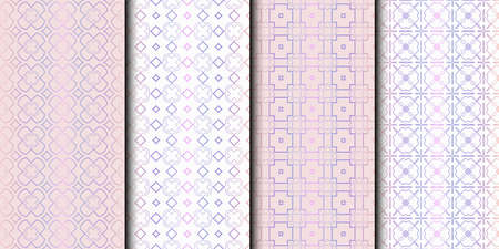 Set of 4 seamless geometric pattern. vector illustration. Reklamní fotografie - 133714356