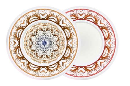 Set of round floral frame and mandala ornament. Vector illustration Illustration