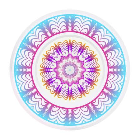 Decorative round frame and floral mandala ornament. Vector illustration. For kitchen decoration.
