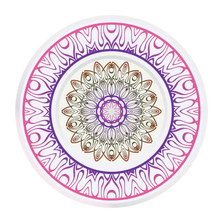 Decorative round ornament. Frame decoration with floral mandala. Vector illustration. Ilustrace