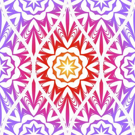 Seamless Line Geometric Floral Pattern. Abstract Geometry Flower. Vector Illustration. Interior Decoration, Wallpaper, Presentation, Fashion Design. Purple gradient color. Ilustrace