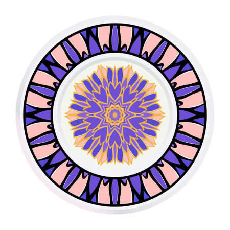 Creative round frame and floral mandala. Vector illustration. Ilustrace