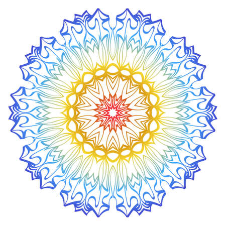 Ornamental Circle Pattern. Hand Draw Mandala. Vintage Decorative Elements. Vector illustration. Red, yellow, blue gradient. For Book, Greeting Card, Invitation, Tattoo. Anti-Stress Therapy Pattern