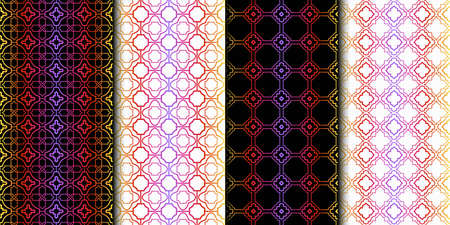 Set of Seamless Geometrical Linear Texture. Original Geometrical Puzzle. Backdrop. Vector illustration Ilustrace