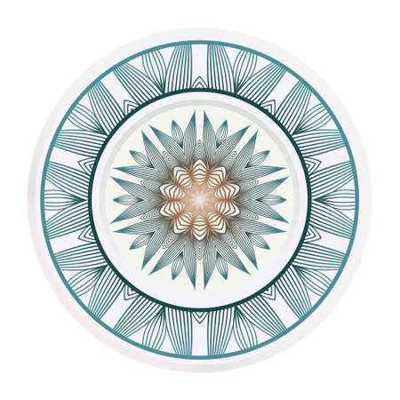 decorative plates for interior design. Empty dish, porcelain plate mock up design. Vector illustration. Decorative plates with stilish ornament patterns. Home decor background Vecteurs