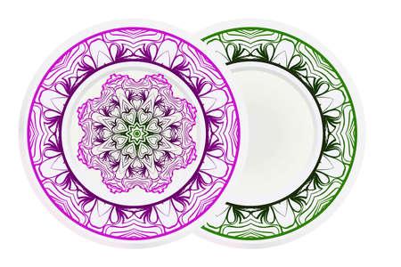 Decorative plates with Mandala ornament patterns. Home decor background. Vector illustration.
