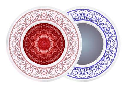 Set of two decorative round border and mandala ornament. Vector illustration.