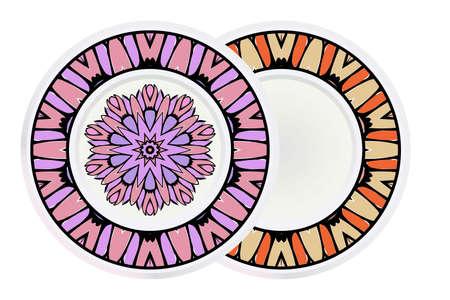 Set of two round decoration frame and mandala ornament. vector illustration. Ilustrace