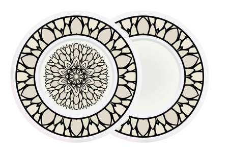 Matching decorative plates for interior designwith floral art deco pattern. Empty dish, porcelain plate mock up design. Vector illustration. White, grey color. Ilustrace