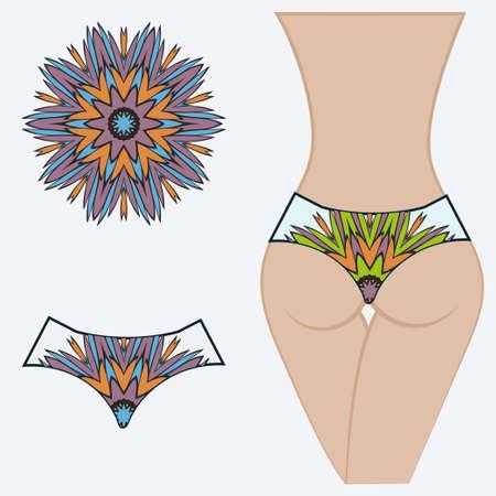 Female buttocks with panties. Decorative vector illustration. Mandala fashion print Ilustração