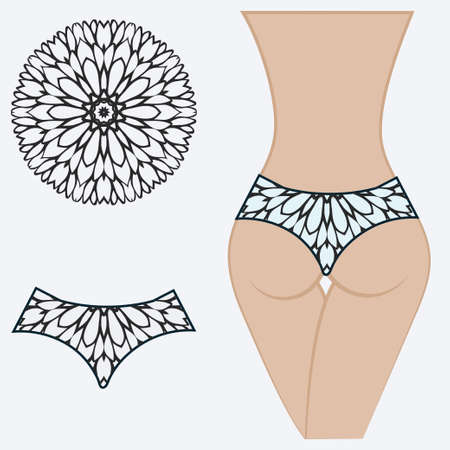 erotic women's panties. vector illustration. gift floral print