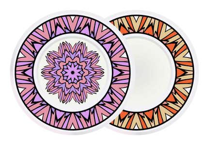 Set of two round decoration frame and mandala ornament. vector illustration. Illusztráció